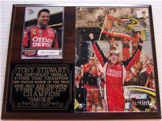 Tony Stewart #14 2011 Sprint Cup Champion 3 Time Photo Card Plaque