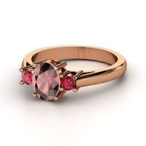 Ashley Ring, Oval Red Garnet 14K Rose Gold Ring with Ruby Jewelry