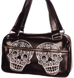 Retro Vinyl Sugar Skull Day Bag with Tattoo Inspired