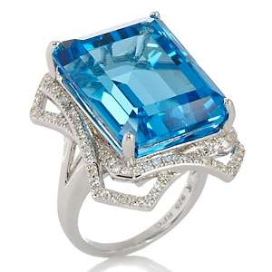 Blue Topaz and Diamond Sterling Silver Emerald Cut Ring