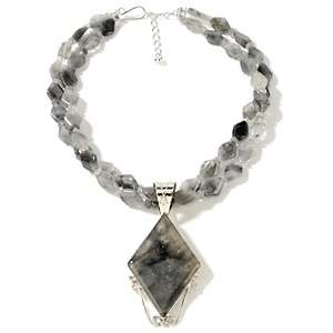 African Smoky Gray Quartz Sterling Silver Pendant with 2 Row Beaded