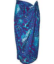 Cobalt Blue and Violet Printed Silk Skirt by SALVATORE FERRAGAMO