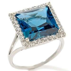 London Blue Topaz and White Sapphire 14K White Gold Ring