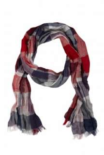 Paul Smith Accessories  Red Washed Crinkled Bold Check Scarf by Paul