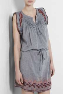 Vanessa Bruno Athe  Drop Waist Embroidered Chambray Dress by Vanessa