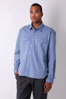 Blue Chambray Work Pocket Washed Cotton Shirt by Oliver Spen   Blue