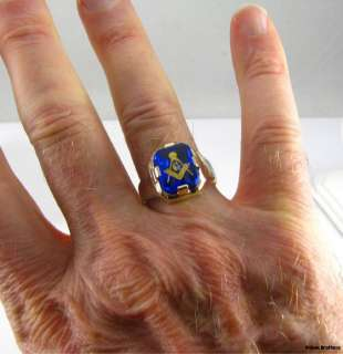 MASONIC Blue Stone RING   10k White & Yellow Gold Master Mason