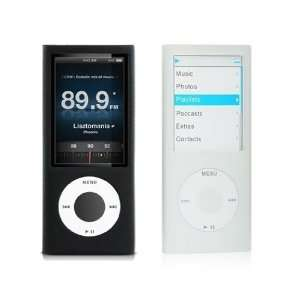 White + Black Silicone Skin Soft Rubber Case for new Apple iPod Nano
