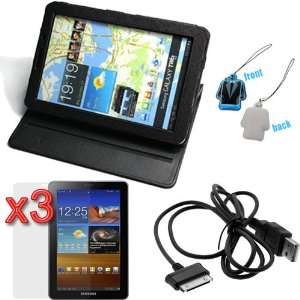 Folio Leather Cover Case with Built in Stand   Black + 3 X LCD