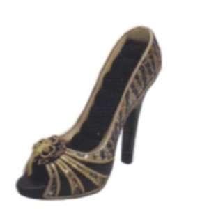 Sequin Animal Print High Heel Shoe Ring Holder Gold Color