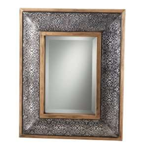 Embossed Antique Silver Beveled Wall Mirror by by Midwest