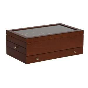 Mele Camden Brown Glass Top Jewelry Box in Antique Walnut