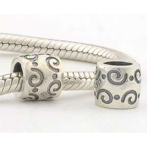 925 Sterling Silver European Style Antique Silver Swirl Charms/beads