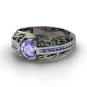 Vintage Romance Ring, Round Tanzanite Sterling Silver Ring
