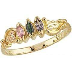 Black Hills Gold Mothers/Family Rings 2 6 4x2MM Birthstones: Jewelry