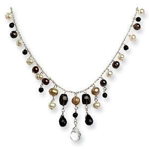 16in Sterling Silver Black Crystals & Pearl Necklace Jewelry