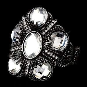 Silver Austrian Crystal Rhinestone Cuff Bracelet Jewelry