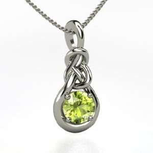 Sailors Knot Pendant, Round Peridot Sterling Silver Necklace Jewelry