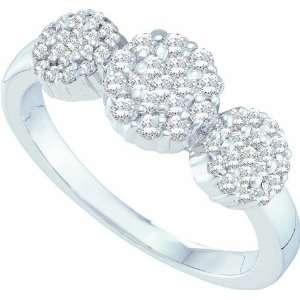 50CT Diamond Elegant Flower Ring Featuring 3 Diamond Bouquets Jewelry