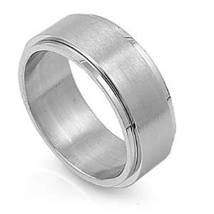 Stainless Steel Brushed Striped Spinner Ring (Size 6   14