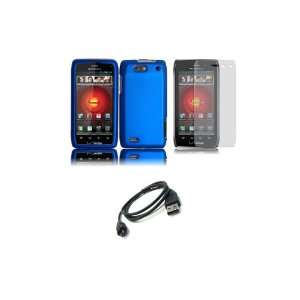 DROID 4 (Verizon) Premium Combo Pack   Blue Hard Shield Case Cover