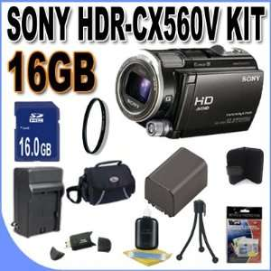 Sony HDR CX560V High Definition Handycam Camcorder (Black) + 16GB SDHC
