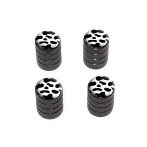 Cow Print   Tire Rim Wheel Valve Stem Caps   Black Automotive