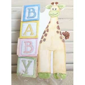 Carol Wilson New Baby Card Baby Blocks with Giraffe, Subtle Glitter