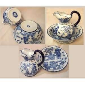 Blue Willow Ceramic Pitcher & Bowl Kitchen & Dining