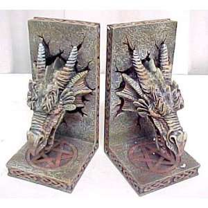 Medieval Dragon Head Bookends Book Ends Gothic