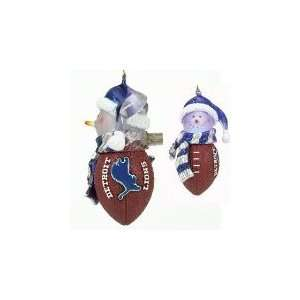 Lions 5 Light Up Snowman Christmas Tree Ornament   NFL Football