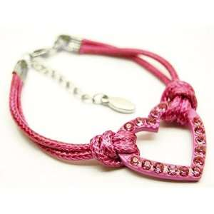 Bright Pink Crystal Heart Cord Bracelet Arts, Crafts & Sewing