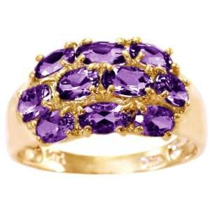 Gold Oval Gemstone Cluster Ring Amethyst, size5.5 diViene Jewelry