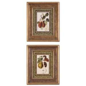 BORDERED PEARS I, II   set of 2 Coffee Wine Kitchen Art