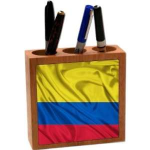 Rikki KnightTM Colombia Flag 5 Inch Tile Maple Finished