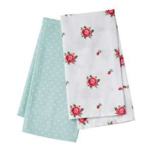 Country Roses & Green Polka Dot Set of 2 Tea Towels Kitchen & Dining