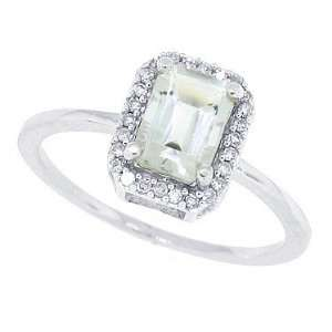 1.01ct Emerald Cut Green Amethyst Ring with Diamonds in