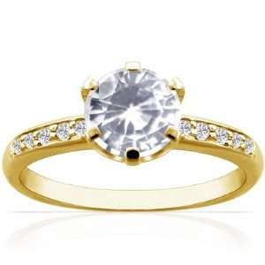 14K Yellow Gold Round Cut White Sapphire Ring With Sidestones Jewelry