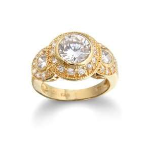 Sterling Silver Yellow Gold Plated Cubic Zirconia Three Stone Ring by