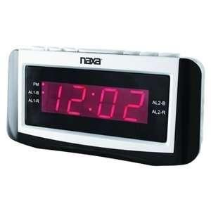 com Naxa PLL Digital Alarm Clock with AM/FM Radio, Snooze & Large LED