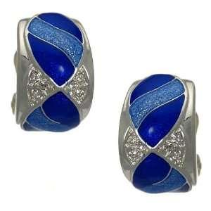 Ortensia Silver Blue Crystal Clip On Earrings Jewelry