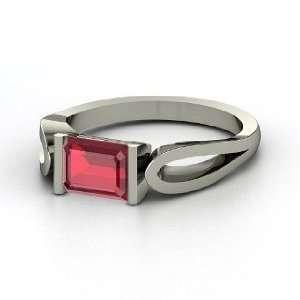 Loop de Loop Ring, Emerald Cut Ruby 14K White Gold Ring Jewelry