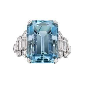 Raymond C. Yard Emerald Cut Aquamarine & Diamond Ring Jewelry