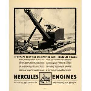 1938 Ad Hercules Motors Engines Construction Equipment