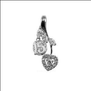 Gold, 15 Heart Quinceanera Pendant Lab Created Gems 13mm Wide Jewelry