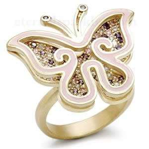 Cubic Zirconia Pink Enamel Butterfly Ring SZ 8 Jewelry
