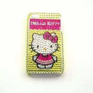 Hello Kitty gold Rhinestone Bling Crystal back cover case for Iphone 4