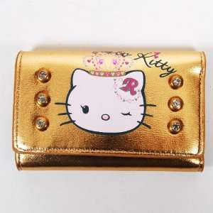 Hello Kitty Girls Wallet Key Holder Pouch Gold Office