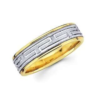Gold Ladies Mens Greek Design Wedding Ring Band 6MM Size 9.5 Jewelry
