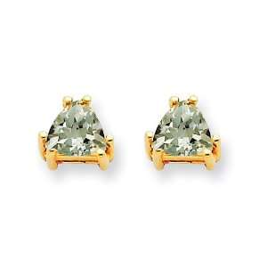 14k Gold 5mm Trillion Green Amethyst Earring Jewelry